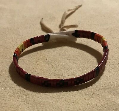 Totally Nice Native American Lakota Sioux Quilled Bracelet Quilled On Rawhide