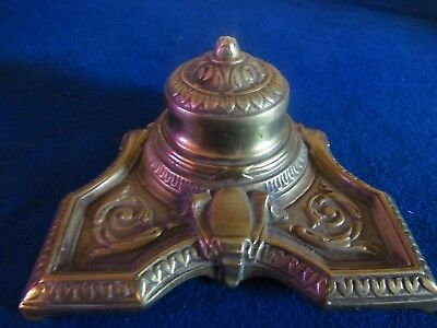 Vintage Antique Ornate Footed Brass Ink Well Inkwell Without Glass Insert SIGNED
