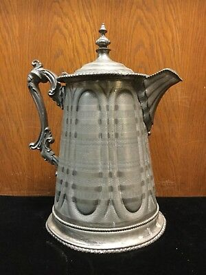 Antique ROGERS SMITH & CO. #10 Quadruple large Pitcher 1860 Has a marble stopper