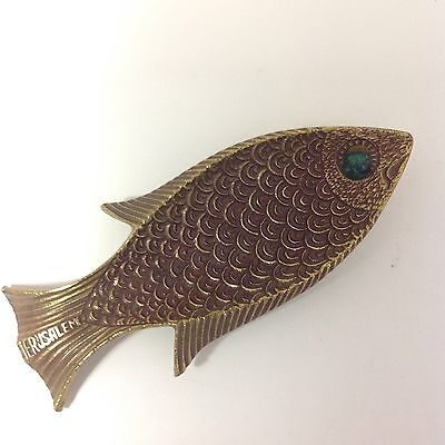 A Vintage Fish Shaped Solid Brass Small Plate By Tamar  Jerusalem  Souvenier