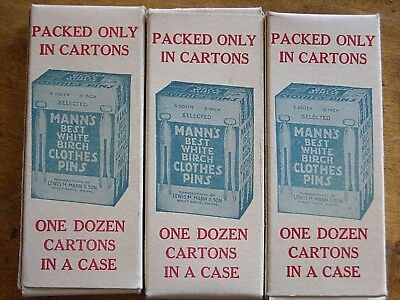 3 Vintage Advertising Mann's Samples Clothes Pins Boxes~