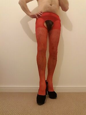 Male/Female/Gay/Fetish/CD red stockings and suspenders all in one