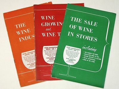 Vintage 1956 WINE HANDBOOK SERIES Set! #1 Industry #2 Growing & Types #3 Sale!