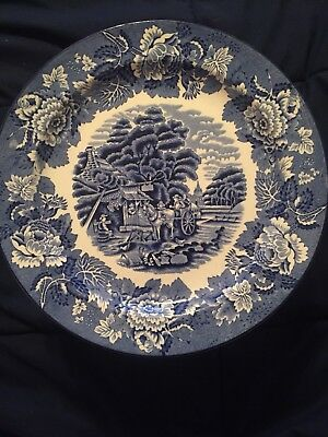 Vintage Wood & Sons English Scenery Blue Double Stacked Dinner Plates