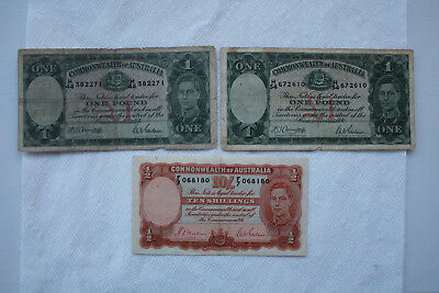 Australia Banknotes 10 Shillings 1939 in great condition, 1 Pound 1942 (2 notes)