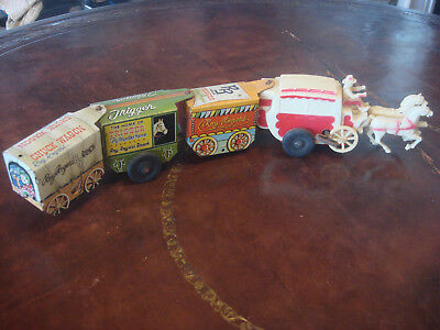 Vintage 50's Roy Rogers Cowboy Stage Coach Wagon Western Wind Up Train