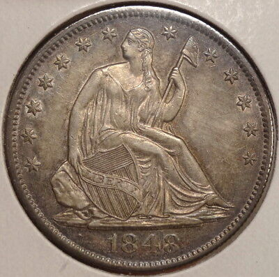 1848-O Seated Liberty Half Dollar, Almost Uncirculated - Discounted   0823-08