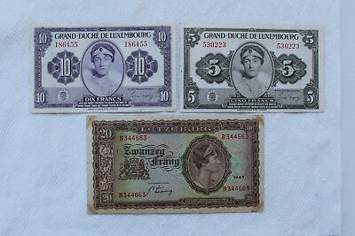 Luxembourg Banknotes,5 Francs 1944,10 Francs 1944 nice condition, 20 Frang 1943
