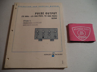 Hp Pulse Output 1920A Operating And Service Manual