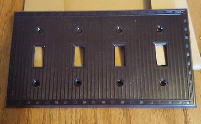 Vintage P & S Uniline Brown Decorative  Switch Outlet Cover Plate 4 Gang Ribbed