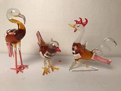 3 RYNBENDE HOLLAND Hand Blown Glass MINI LIQUOR DECANTERS, Flamingo/Rooster/Bird