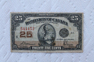 Canada Banknote, 25 Cents from 1923 (Cat.11b)