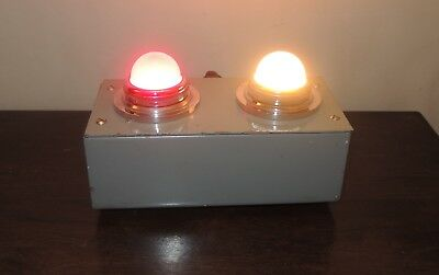 Vintage BBC Studio Double Cue / Signal Red and White Light Unit On Air TV Radio