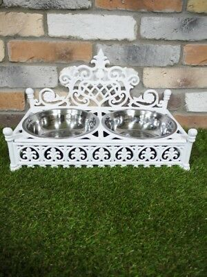 Dog Cat Pet Bowl Cast Iron Cream Finish Double Feeding Bowls Food And Water