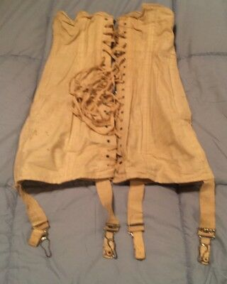 Antique Warners No. 30 Lace Up Boned Corset w/Rust Proof Made USA