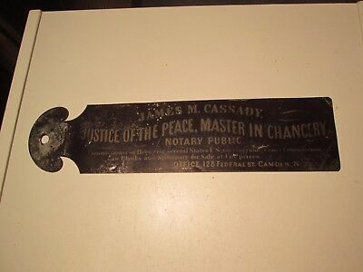 Vtg Original Tin Sign Justice Of The Peace Chancery Notary Camden, NJ