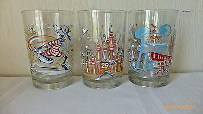 Disney World Drinking Glasses Tumblers 25 Years Remember the Magic Set of 3