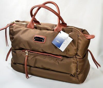 ADRIENNE VITTADINI Quilted Duffel Olive Weekender Vegan Pillow-Soft NWT