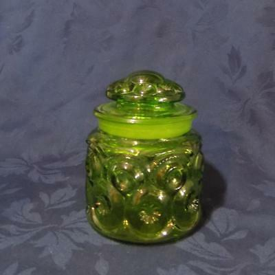 """Vintage L E Smith-MOON & STARS GREEN CANISTER 5 1/2"""""""