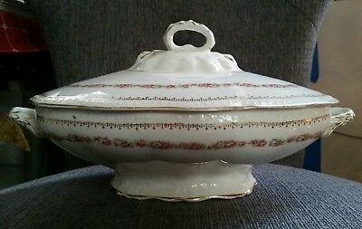 Antique Edwin M Knowles  Oval Covered Serving Dish Pattern KNO160 Early 1900's