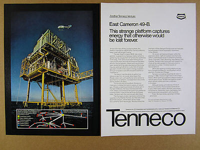 1980 Tenneco East Cameron Natural Gas Compressor Platform photo vintage print Ad