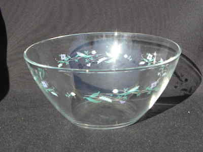 Arcoroc France Coupe Shape Glass Serving or Salad Bowl Purple Blue Flowers #1