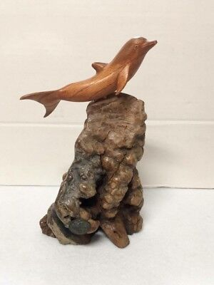 Vintage John Perry Dolphin Statue Burl Wood Base And Wooden  Dolphin 9 Inch Tall