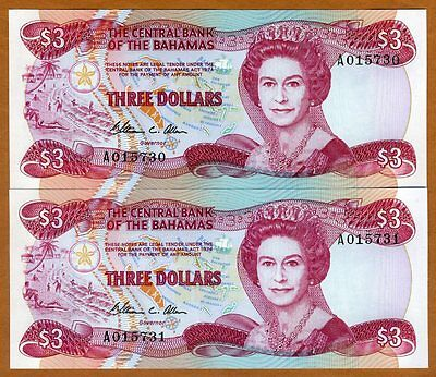 SET Bahamas, 2 x 3 dollars, L. 1974 (1984), Pick 44, QEII UNC > Consecutive Pair