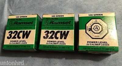 ITW Ramset 3 Boxes, 32CW Powder Loads, Fits models 721, 4170, Green, 22 Cal. NEW
