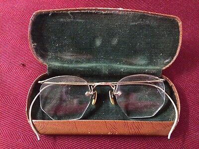 Vtg Antique 12kt Gold Filled Wire Frame Eye Glasses Made In USA Spectacles