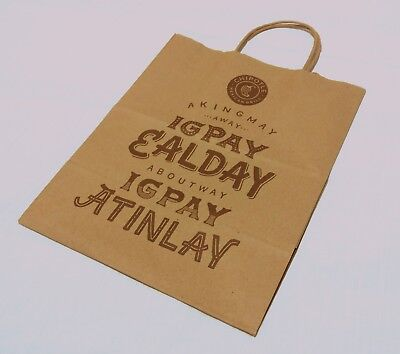 (36x) Chipotle Pig Latin Brown Paper Shopping Lunch Gift Bags with Handles