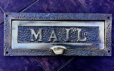 Vintage Antique Entry Door Mail Slot Cast Brass Mounting Holes & Hinged Door