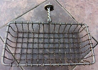 Vintage Antique Wall Mount Soap Sponge Holder Steel Wire Screw In Bracket