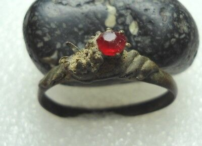 Ancient Roman Bronze Ring with Red stone Original Authentic Antique Rare