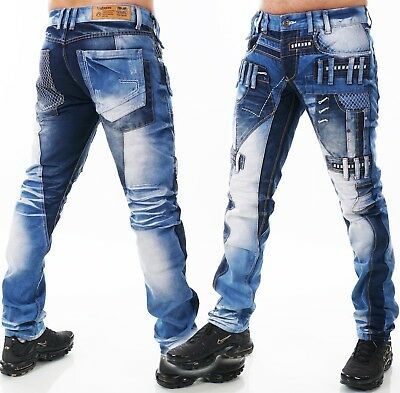 HIGHNESS Herren Jeans Hose Loose Fit Men´s Wear Patches Nieten Mega Waschung