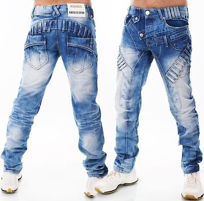 HIGHNESS Herren Jeans Hose Loose Straight Fit Men´s Wear Patches Mega Waschung