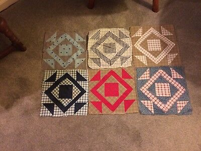 VINTAGE LOT of 6 QUILT SQUARES, DIAMOND BLOCK PATTERN(?), HAND STITCHED (TG6)