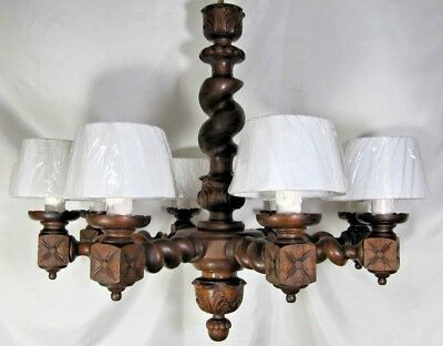 Large Barley Twist Chandelier: Antique French Wood Carved Gothic Medieval Lamp