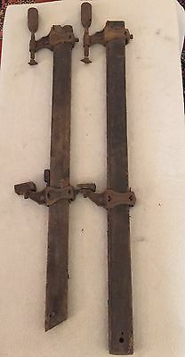 Pair of Antique Carpenter Woodworking Wood /Cast Iron 3 ft Bar Clamps Steampunk