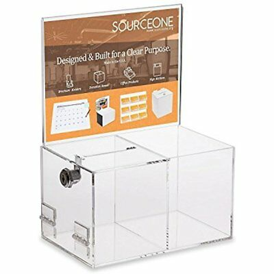 Source One Deluxe Donation Box - Collection Tip Container With Two Compartments