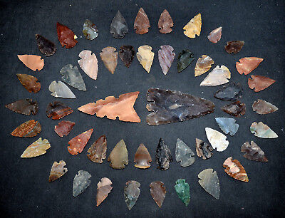 "52 PC Flint Arrowhead Ohio Collection Points 1-3"" Spear Bow Knife Hunting Blade"