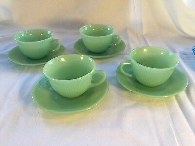 Jadite Fire-King Jane Ray Set Of 4 Cups And Saucers (Keller & Ross)