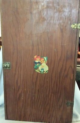 Vintage Primitive Wall Cabinet Cupboard Child Decal Jack & Jill Shelves & Latch