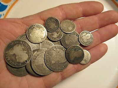 Silver Reales Spanish coin (Lot) 18 pc