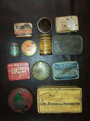 Lot of 12 Antique Tins- Medical, Horseshoe nails and more