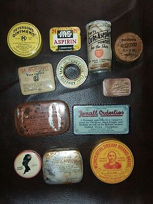 Lot of 12 Antique Tins- Lot of 12 misc medical tins and many more