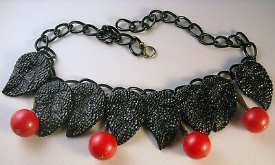 Vintage Necklace Red Cherries Berries with Black Leaves Celluloid Chain From