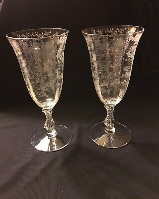 Cambridge Rose Point Footed Tumbler Glasses Etched 3121 10oz Goblet SET OF TWO