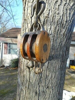 ANTIQUE Wood Block Tackle  Double Pulley Wrought Iron Hook Farm Forge Antique
