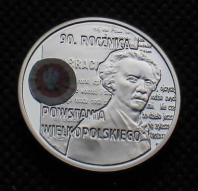 SILVER COMMEMORATIVE COIN OF POLAND - ANNIVERSARY OF GREATER POLAND UPRISING Ag